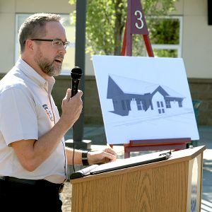 RCC Emergency Services department chair Gary Heigel speaks during the groundbreaking ceremony for the new $1 million building that will provide classroom space for RCC fire science classes.