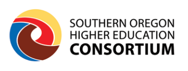 southern oregon higher education consortium logo all the colors of the colleges in a ball shape