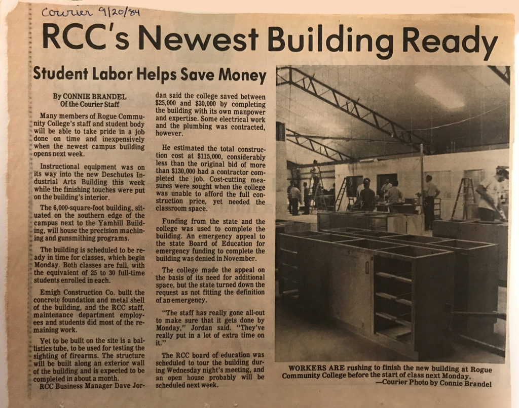 A Grants Pass Daily Courier article from Sept. 1984 details construction of the Deschutes Building.