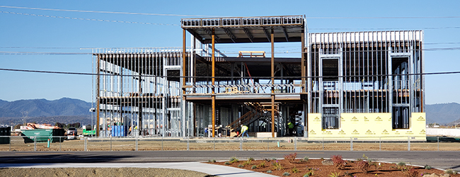 The Health Professions Center is under construction in October 2019.