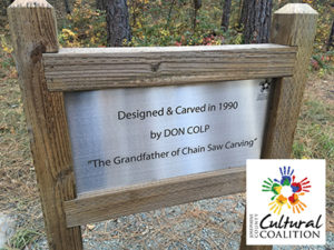 Thanks to a grant from the Josephine County Cultural Coalition, a new sign commemorates chain saw artist Don Colp.