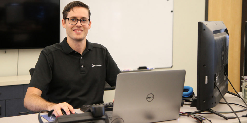 RCC graduate Brett Lapierre works as a quality assurance technician at Microvellum Software in Central Point.