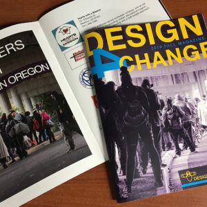 Two issues of Design 4 Change magazine lay on a table