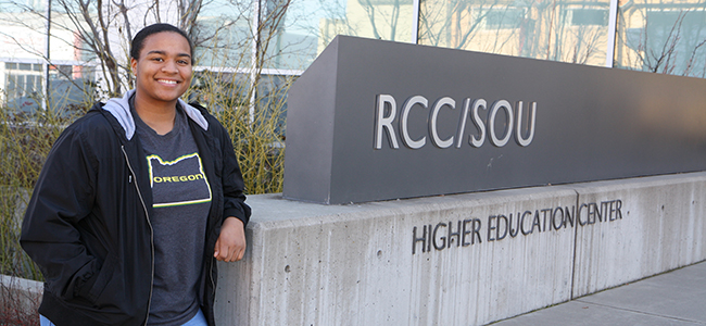 Jaida Ross poses for a picture outside the RCC/SOU Higher Education Center.