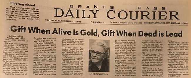 A 1977 newspaper clipping from the Grants Pass Daily Courier